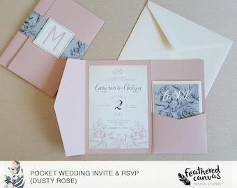 Pocket Wedding Invitation & RSVP {Dusty Rose}