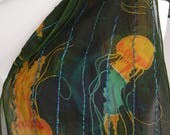 Blue glitter and jellyfish!  One-of-a-kind hand-painted silk chiffon scarf with jellyfish design