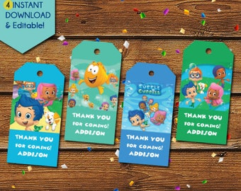 Bubble Guppies Thank You Tags,  Bubble Guppies Party Favors, Bubble Guppies Birthday Tags, Bubble Guppies Party Tags, Favor Tags, Gift Tags