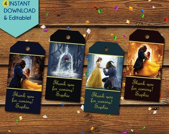 Beauty and the Beast Thank You Tags, Beauty and the Beast Party Favors, Beauty and the Beast Favor Tags, Belle Birthday Tag, Party Tags
