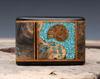 Exotic Wood, Ammonite Fossil and Turquoise Inlaid Belt Buckle - Handmade