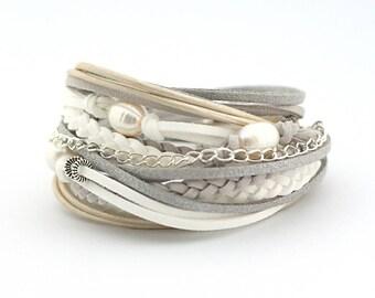 Freshwater pearl Bracelet, Gray White Silver Wrap Bracelet, Wedding Bride Bridesmaid, Bohemian Jewelry, Pearl and Leather Bracelet, gift
