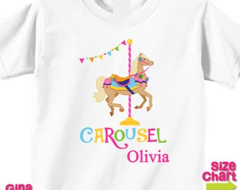 SALE Personalized Carousel Horse Pony Girl Birthday Party Shirt T-shirt Bodysuit Pretend Play Imagination Dress Up