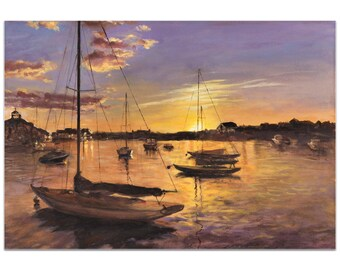 Coastal Wall Art 'Harbor 1' by Trish Savides - Boats Decor Traditional Ocean Harbor Artwork on Metal or Plexiglass