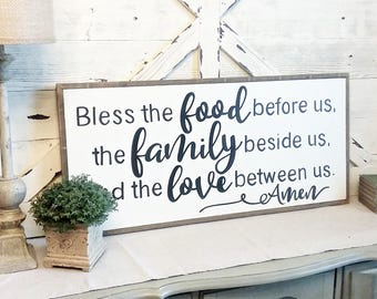 Bless the food before us, the family beside us and the love between us amen / Prayer / Wood Sign / Framed / 17 x 33 / Inspirational / Dining