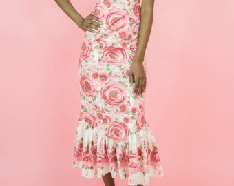 Vintage 80s Print Dress, 1980s Maxi Dress, 80s Floral Sun Dress, 80s Long Dress, 80s maxi dress, Eighties, 80s sun dress, 1980s dress