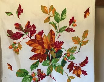Vintage Wilendure Fall Autumn Leaves Tablecloth