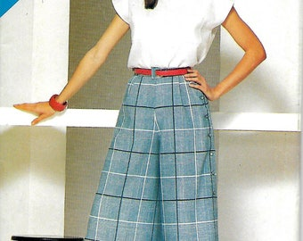 Butterick See & Sew 5478 Misses Top And Side Button Culottes Pattern, 8-10-12, UNCUT