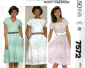 ON SALE McCall's 7572 Make It Tonight Misses Knit Pullover Dress Pattern, Medium & Large, UNCUT