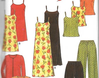 New Look 6753 Misses Easy Camisole Top, Slip Dress In Two Lengths, Jacket And Pants Pattern, Size 6-16, UNCUT