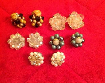 5 Pair Lot Of Vintage 50's/60's Cluster Clip Back Earrings