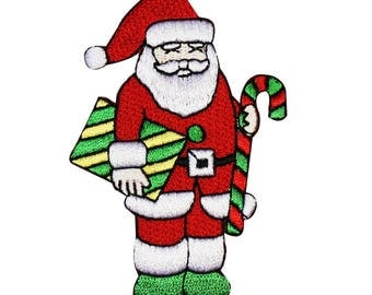 ID 8038 Santa with Gifts & Candy Christmas Embroidered Iron On Applique Patch