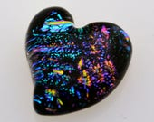 Reserved for Elaine H. Gorgeous Heart Tile, Dichroic Heart, Mosaic Heart Tile, Dichroic Cab, Handmade Heart Tile, Jewelry Cabochon