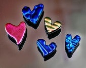 5 Glass Heart Tiles, Dichroic Tiles, Shiny Glass Tiles, Small Glass Hearts, Pink, Blue , Blue Purple & Pink Green Tiles, Fused Glass Tiles