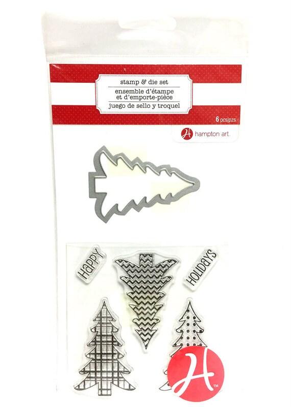 Tree Stamp and Die Set / Plaid Tartan Chevron Dot Pattern / Happy Holidays / Hampton Art / Christmas