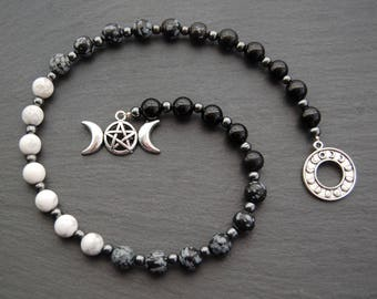 Moon / Lunar Phase Pagan Prayer Beads / Witch's Ladder / Witches' Ladder. Pagan Druid Wicca Witch Goddess Arianrhod Diana Hecate Pentacle