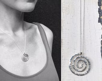 Sterling Silver Spiral Necklace - Large Koru Spiral -  Hammer Formed - Hammered Texture