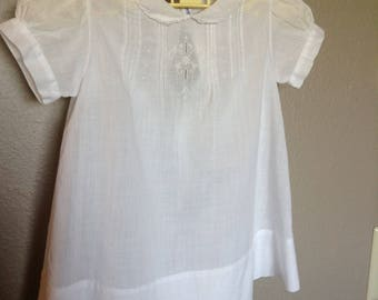 Vintage Baby Dress, White Cotton, Handmade, Philippine, Embroidered
