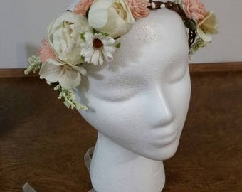 wedding accessories, bride haircrown, pink hair crown ,boho bridal hair crown, woodland berry, ready to go, wedding, bridal headpiece