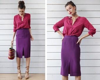 Vintage purple pure silk linen high waist fitted pencil knee length midi skirt XS S