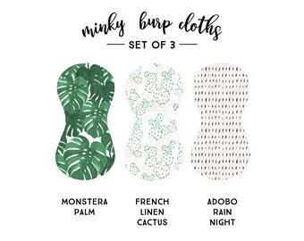 Burp Cloths Monstera Set of Three. Baby Gift. Baby Shower Gift. Burp Cloth. Burp Rag. Baby Essentials.
