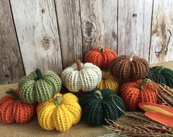 knitted stuffed pumpkins, fall decoration, thanksgiving decor.
