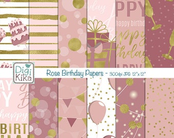 Rose Happy Birthday Digital Papers - Scrapbooking, card design, invitations, stickers, background, paper crafts, web design INSTANT DOWNLOAD