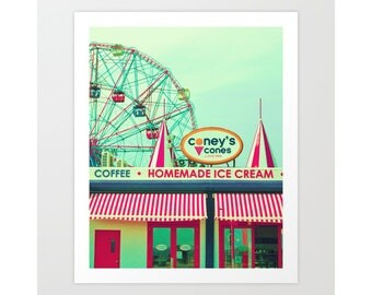 Nursery wall art, nursery decor, ferris wheel art, turquoise, Coney Island, Wonder Wheel, playroom decor, canvas art, extra large wall art
