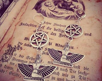 Silver lace pentagram earrings Egyptian ♠Cleopatra♠
