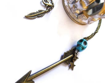 Necklace bronze arrow with skull turquoise Katniss Everdeen Hunger Games