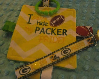 Baby Girl, Baby Boy Crinkle toy, Embroidered Green Bay Packers, to cute for words, with or without pacifier keeper and headband