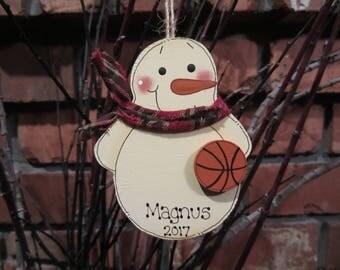 Personalized Snowman Basketball Ornament - Sports Ornament - Team Ornament