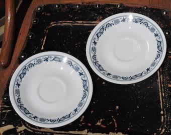 Vintage Corelle Corning Livingware Old Town Blue Onion Saucers (2)