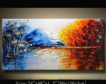 contemporary wall art, Palette Knife Painting,colorful tree painting,wall decor  Home Decor,Acrylic Textured Painting ON Canvas by Chen 0715
