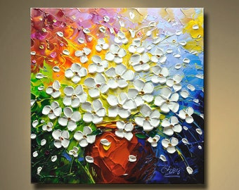 contemporary wall art,Palette Knife Painting,colorful Flower painting,wall decor ,Home Decor,Acrylic Textured Painting ON Canvas by Chen Q17