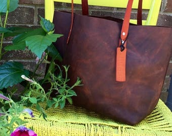 ON SALE NOW Brown Leather Bag* Brown Leather Tote* Leather Handbag* Leather Boho Bag* Soft Brown Leather Tote* Handmade in the Usa* The Hale