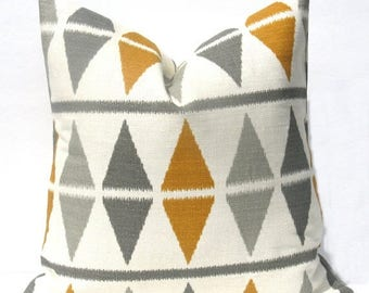 Rose Pillow Mustard Yellow On Grey 16 X 16