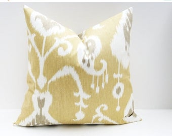 15% Off Sale YELLOW PILLOW COVERS, Gray Yellow Pillow , ikat pillow, Decorative Pillows. Tan Pillow.Cushion covers Euro pillow Cover Euro sh