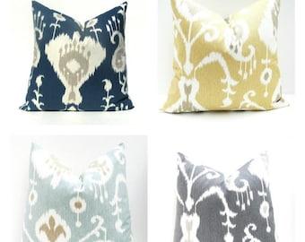 15% Off Sale PILLOW, Decorative Pillow, Navy Pillow Cover, Ikat Pillow, Gray Pillow, Yellow Pillow, Tan Pillow, Ikat Pillow Cover, Throw Pil