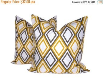 15% Off Sale Decorative Throw Pillows Yellow Gray Pillow Throw Pillow Covers 18x18 Housewares Home Decor Printed Fabric both sides