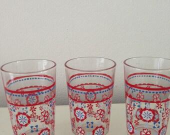 Vintage lemonade glasses 3 x