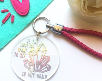 Crystal keychain, Good vibes only keychains, metallic keychain with faux leather lanyard, be the good you want to see, rainbow keychain