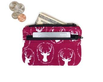 Cute Coin Purse  -  Card Wallet - Id holder - Maroon Deer 2 Zipper Change Purse - Small Wallet -  small Coin Pouch