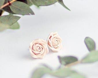 SALE Ivory rose studs, rose studs, bridal rose studs, ecru rose studs, flower studs, ivory flower studs, ecru flower studs, bridal flower st