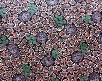 Vintage fabric, Purple cotton floral.