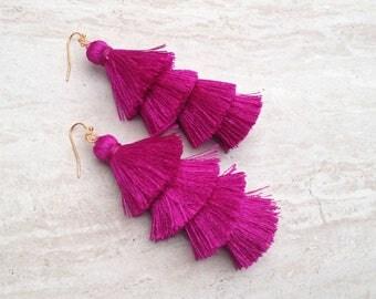 """Fuschia Tiered Tassel Earrings, Stacked Tassle Earrings Layered Tassel Earrings, Summer Earrings, Colorful, Trendy,Lightweight 3"""" Drop"""