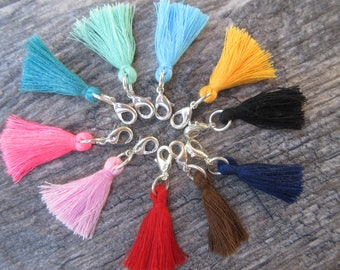 "Cotton tassel clip on charm with lobster clasp, 1"" colored tassel zipper pull, bracelet charm, purse charm, key chain charm planner charm"