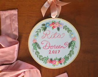 Floral Wreath Embroidery with Name and Year in 7 inch hoop - girl nusery decor ombre customizable