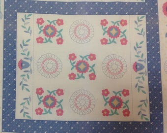 Vintage, Country Table Runner, Country Blue Color, Floral Print, Calico, Wamsutta