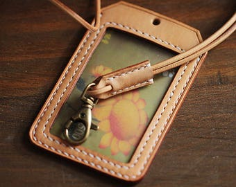 100% Hand-stitched Vegetable Tanned Leather Lovely ID Card Holder Transportation Card Case